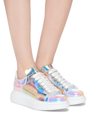 Figure View - Click To Enlarge - ALEXANDER MCQUEEN - Holographic transparent oversized sneakers