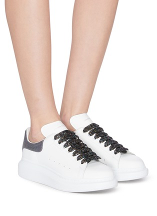 Figure View - Click To Enlarge - ALEXANDER MCQUEEN - 'Larry' holographic glitter oversized sneakers