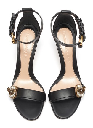 Detail View - Click To Enlarge - ALEXANDER MCQUEEN - Butterfly jewel embellished calf leather sandals