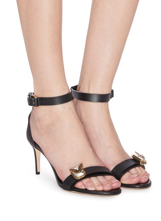 Figure View - Click To Enlarge - ALEXANDER MCQUEEN - Butterfly jewel embellished calf leather sandals