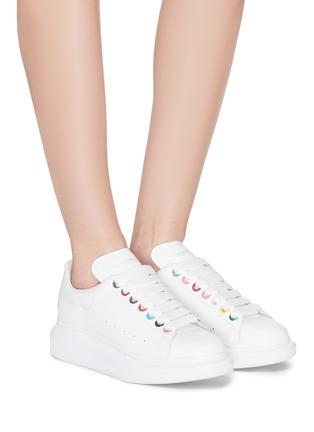 Figure View - Click To Enlarge - ALEXANDER MCQUEEN - 'Larry' rainbow eyelet oversized sneakers