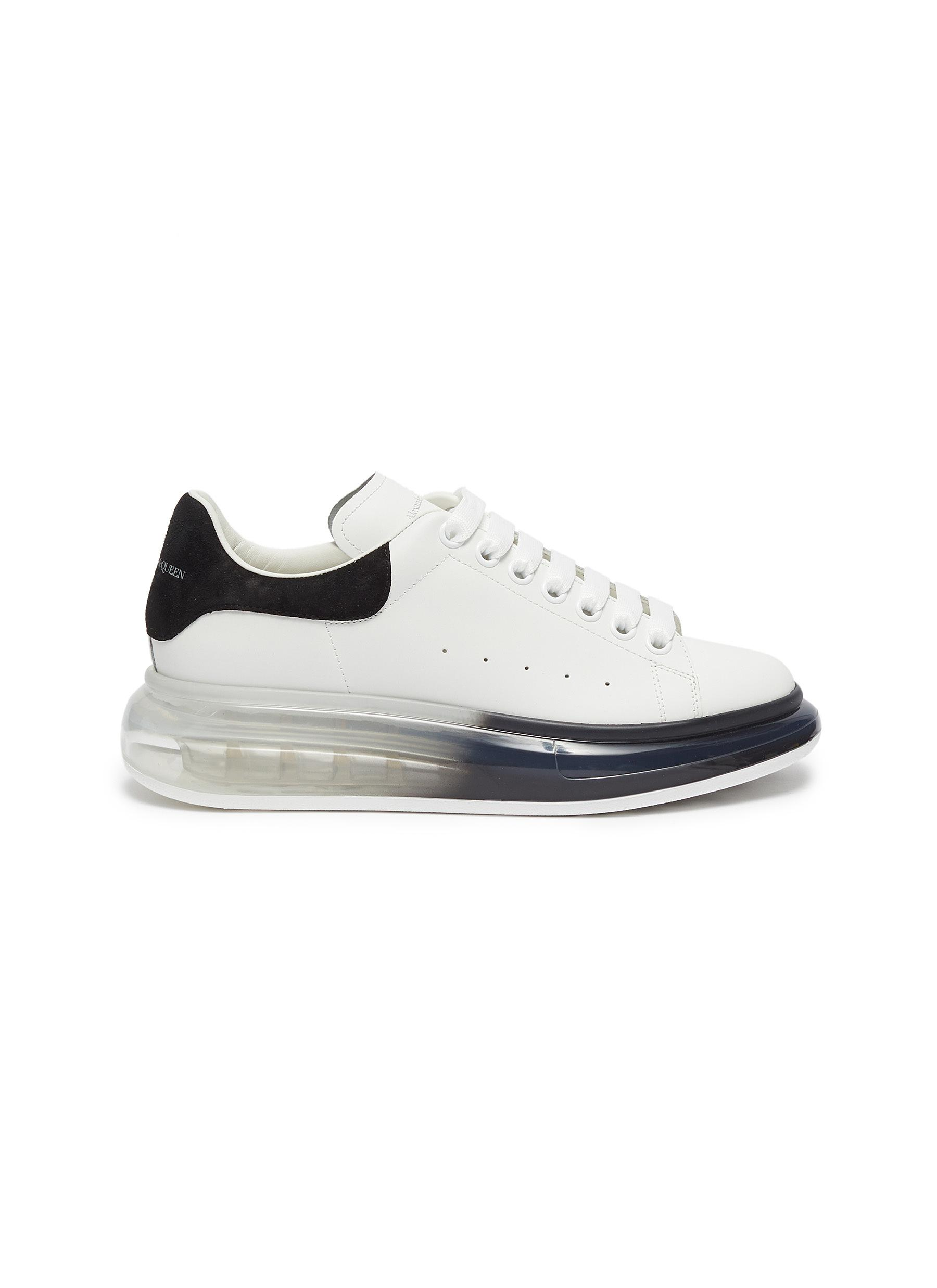 Contrast degrade transparent sole leather sneakers