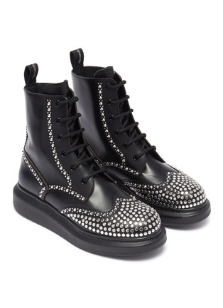 Detail View - Click To Enlarge - ALEXANDER MCQUEEN - Hybrid stud combat boots