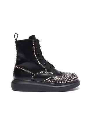 Main View - Click To Enlarge - ALEXANDER MCQUEEN - Hybrid stud combat boots