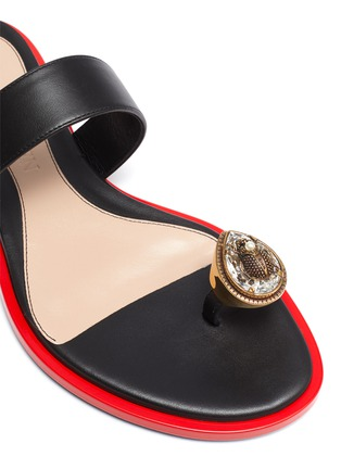 Detail View - Click To Enlarge - ALEXANDER MCQUEEN - Beetle jewel leather sandals