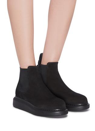 Figure View - Click To Enlarge - ALEXANDER MCQUEEN - Oversized suede chelsea boots