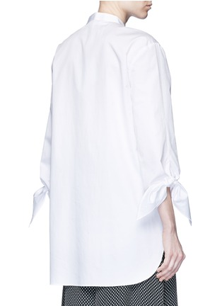 Back View - Click To Enlarge - Tibi - Tie cuff poplin shirt tunic