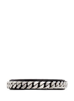 Main View - Click To Enlarge - VITA FEDE - 'Monaco Single Wrap' silver chain leather bracelet