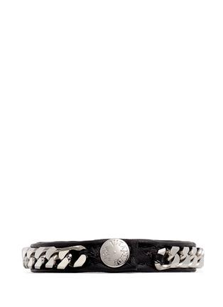 Figure View - Click To Enlarge - VITA FEDE - 'Monaco Single Wrap' silver chain leather bracelet