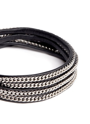 Detail View - Click To Enlarge - VITA FEDE - 'Capri 5 Wrap' silver chain leather bracelet