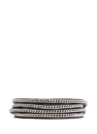 Main View - Click To Enlarge - VITA FEDE - 'Capri 5 Wrap' silver chain leather bracelet