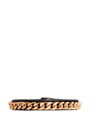 Main View - Click To Enlarge - VITA FEDE - 'Monaco Single Wrap' rose gold chain leather bracelet