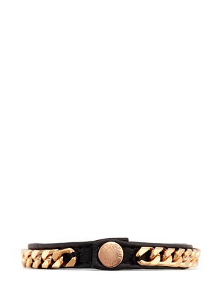 Figure View - Click To Enlarge - VITA FEDE - 'Monaco Single Wrap' rose gold chain leather bracelet
