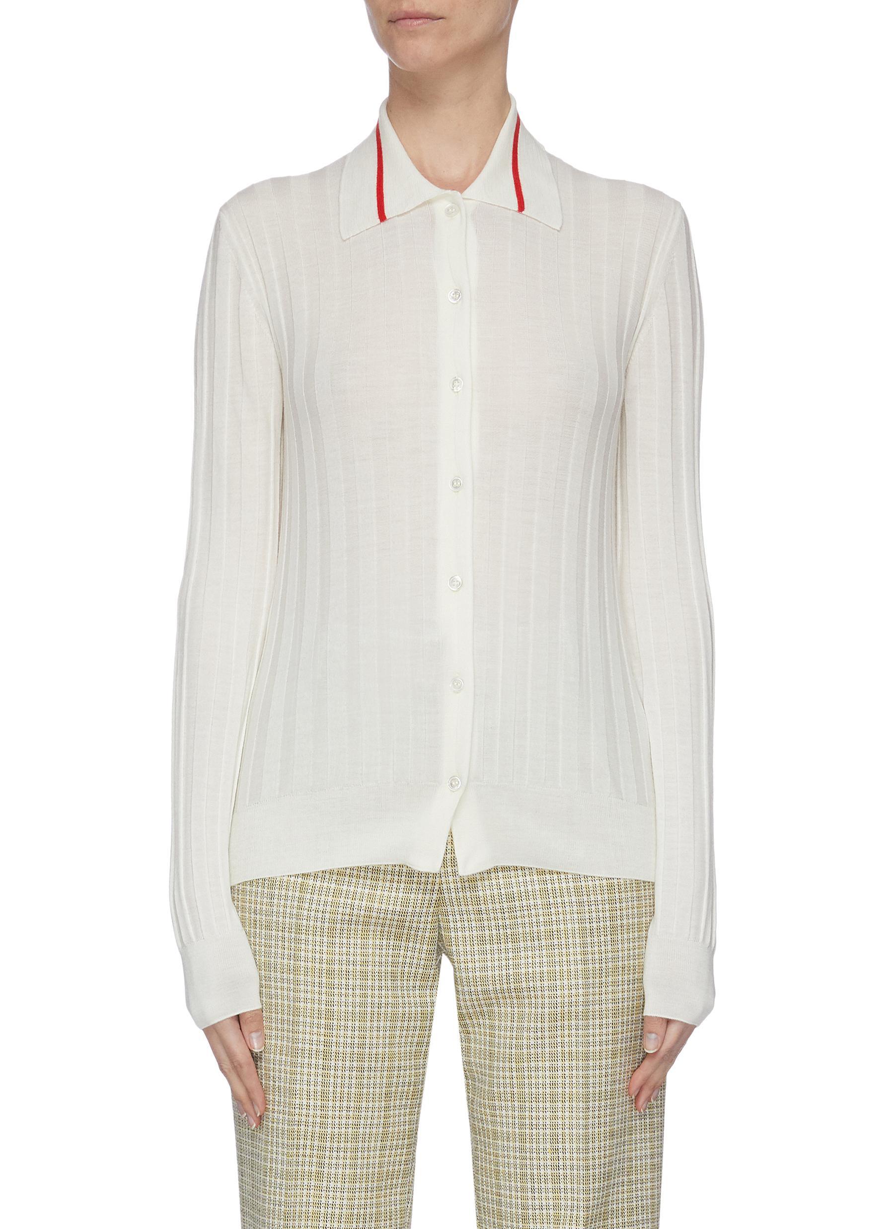 shop Plan C Contrast collar stripe merino wool rib button-up shirt online
