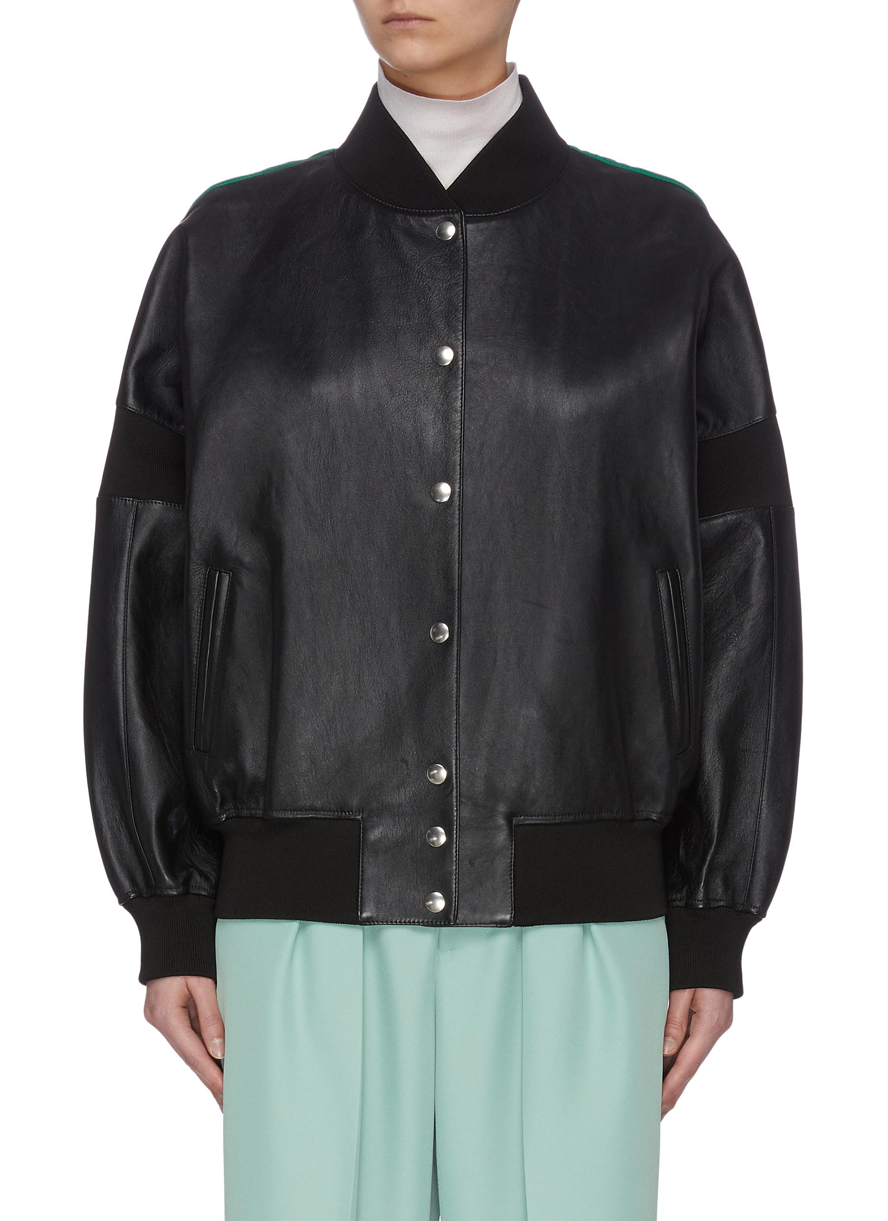 Buy Plan C Jackets Contrast Oversize Leather Baseball Jacket