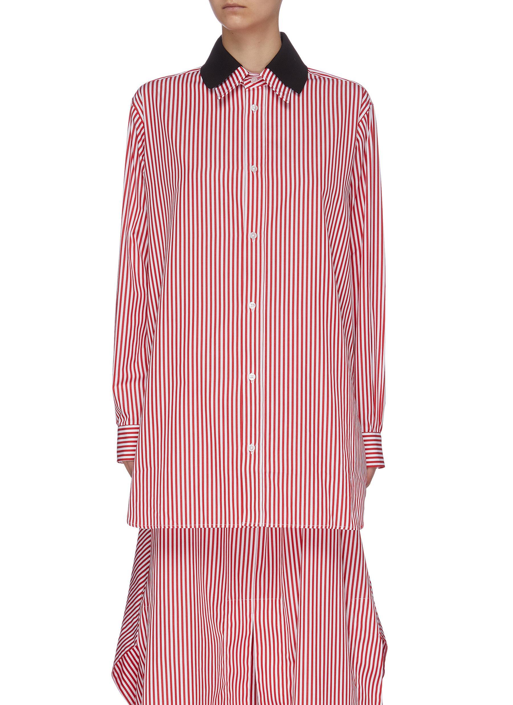 shop Plan C Contrast double layer collar stripe long shirt online