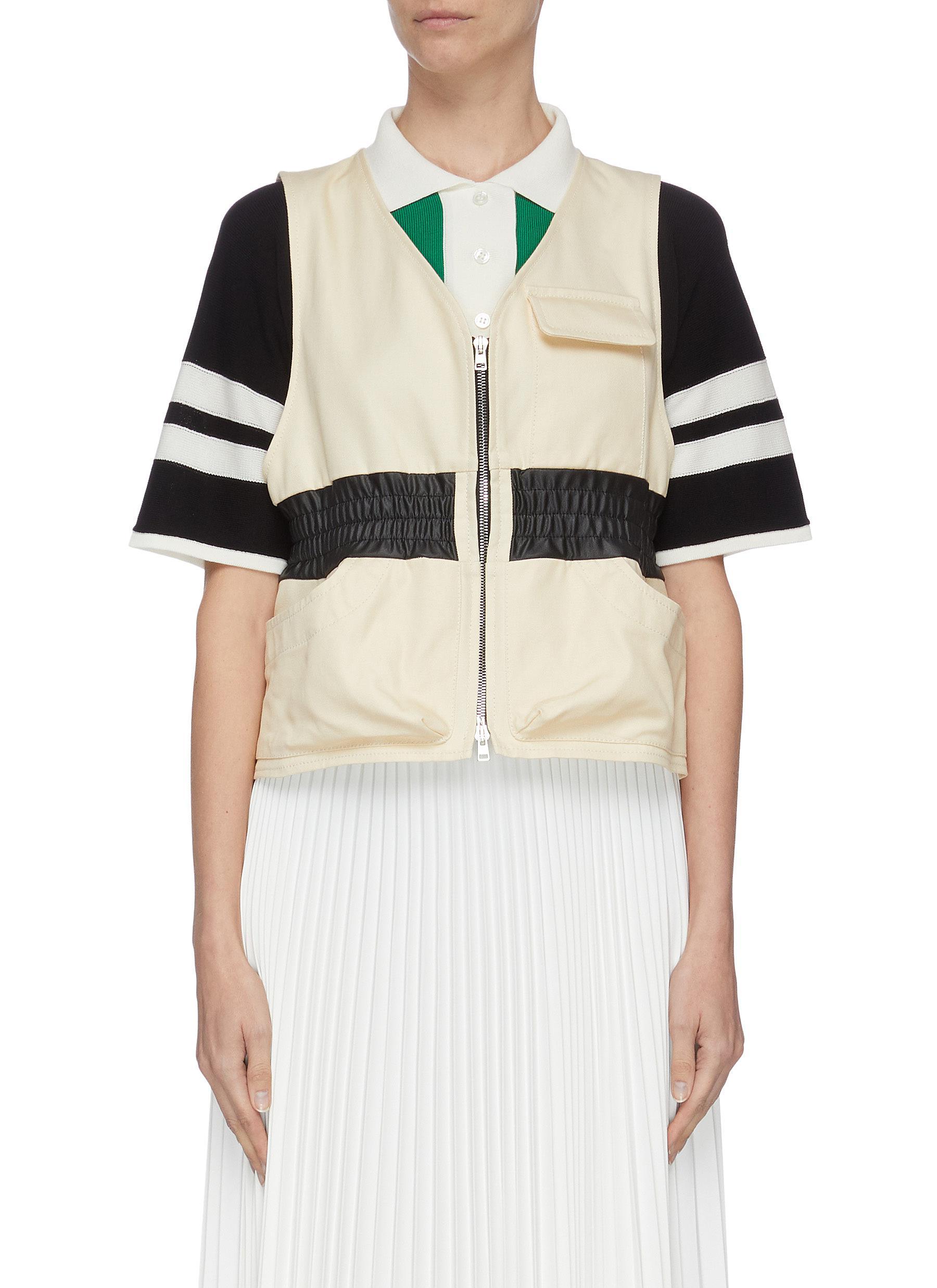shop Plan C Zip front elastic cinch waist vest online
