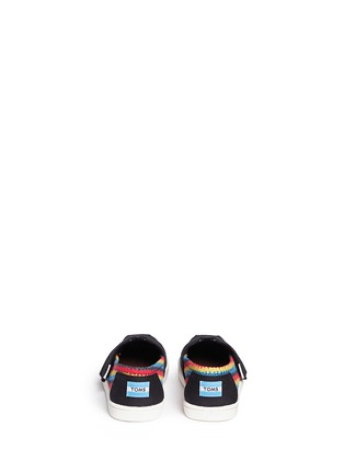 Back View - Click To Enlarge - 90175 - Tiny Classic raffia print canvas toddler slip-ons