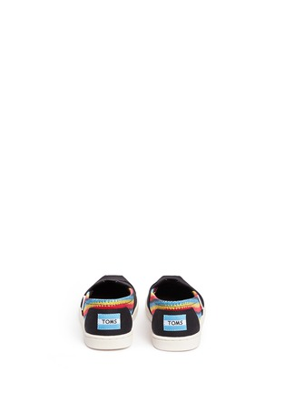 Back View - Click To Enlarge - 90175 - Youth Classic raffia print canvas kids slip-ons