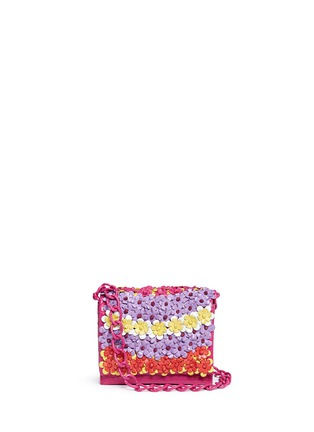 Main View - Click To Enlarge - NANCY GONZALEZ - 'Gio' flower appliqué crocodile leather crossbody bag