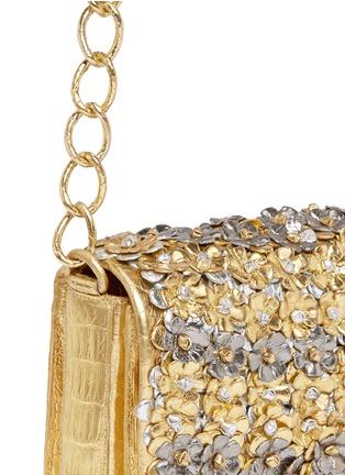 Detail View - Click To Enlarge - NANCY GONZALEZ - 'Gio' flower appliqué metallic crocodile leather crossbody bag