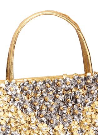 Detail View - Click To Enlarge - NANCY GONZALEZ - 'Small Wallis' flower appliqué metallic crocodile leather bag
