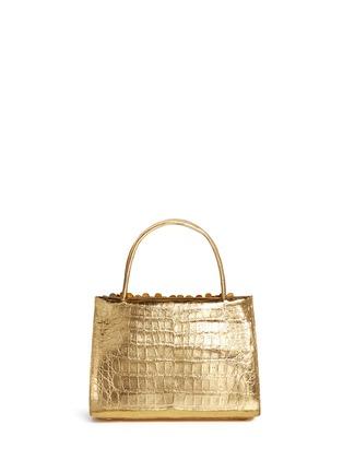 Back View - Click To Enlarge - NANCY GONZALEZ - 'Small Wallis' flower appliqué metallic crocodile leather bag