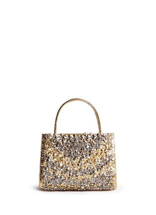 Main View - Click To Enlarge - NANCY GONZALEZ - 'Small Wallis' flower appliqué metallic crocodile leather bag