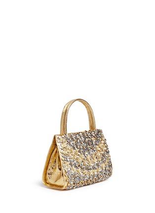 Figure View - Click To Enlarge - NANCY GONZALEZ - 'Small Wallis' flower appliqué metallic crocodile leather bag