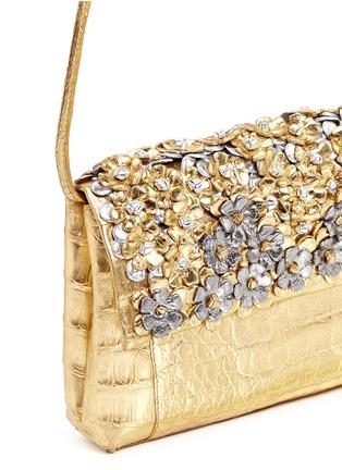 Detail View - Click To Enlarge - Nancy Gonzalez - 'Gotham' flower appliqué metallic crocodile leather clutch