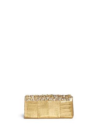 Back View - Click To Enlarge - Nancy Gonzalez - 'Gotham' flower appliqué metallic crocodile leather clutch