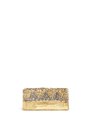 Main View - Click To Enlarge - Nancy Gonzalez - 'Gotham' flower appliqué metallic crocodile leather clutch