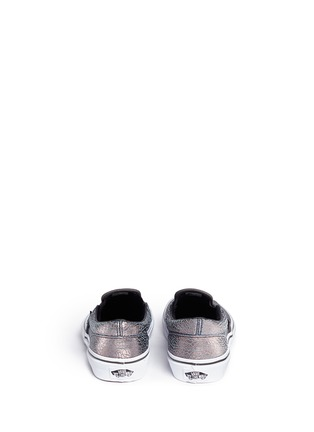 Back View - Click To Enlarge - Vans - 'Classic' metallic cracked leather kids slip-ons