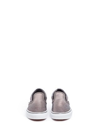 Figure View - Click To Enlarge - Vans - 'Classic' metallic cracked leather kids slip-ons