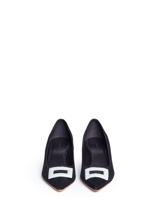 Front View - Click To Enlarge - Fabio Rusconi - Leather buckle appliqué suede pumps