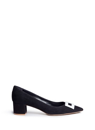 Main View - Click To Enlarge - Fabio Rusconi - Leather buckle appliqué suede pumps