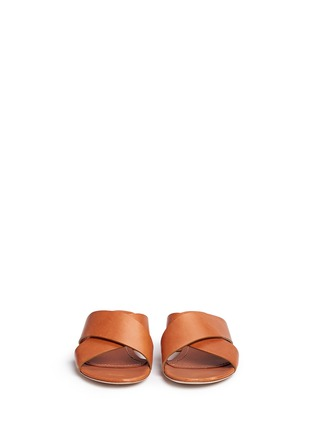 Front View - Click To Enlarge - Mansur Gavriel - Cross vamp leather flat sandals