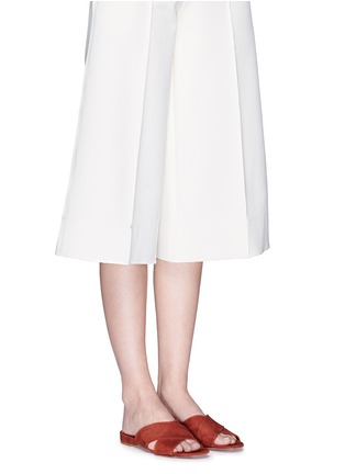 Figure View - Click To Enlarge - Mansur Gavriel - Cross vamp suede flat sandals