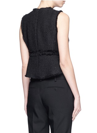 Back View - Click To Enlarge - Proenza Schouler - Frayed tweed sleeveless peplum top