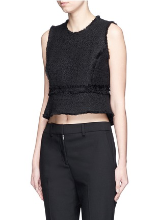 Front View - Click To Enlarge - Proenza Schouler - Frayed tweed sleeveless peplum top