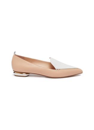 Main View - Click To Enlarge - NICHOLAS KIRKWOOD - 'Beya' metal heel contrast panel leather loafers