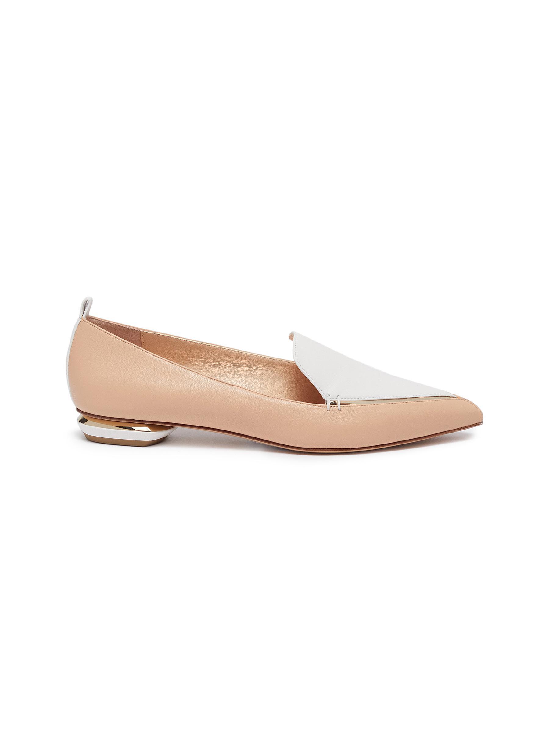 Nicholas Kirkwood Flats Beya metal heel contrast panel leather loafers
