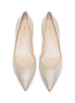 Detail View - Click To Enlarge - NICHOLAS KIRKWOOD - 'Casati Lurex' faux pearl heel metallic leather D'Orsay flats