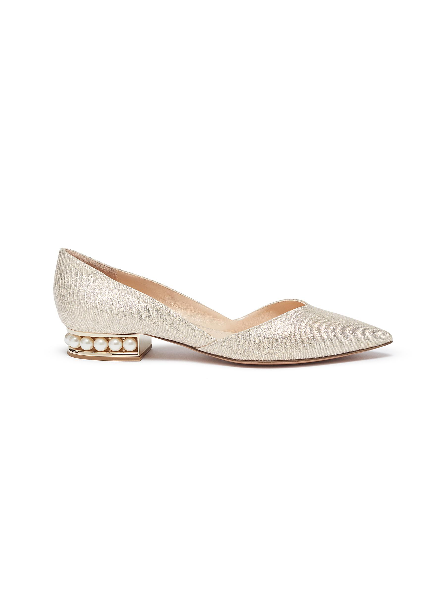 Nicholas Kirkwood Flats Casati Lurex faux pearl heel metallic leather DOrsay flats