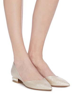 Figure View - Click To Enlarge - NICHOLAS KIRKWOOD - 'Casati Lurex' faux pearl heel metallic leather D'Orsay flats