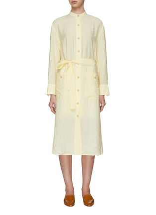 Main View - Click To Enlarge - VINCE - Belted Button Down Dress