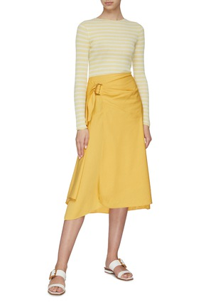 Figure View - Click To Enlarge - VINCE - Side buckle asymmetric drape skirt