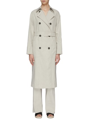 Main View - Click To Enlarge - VINCE - Side slit belted trench