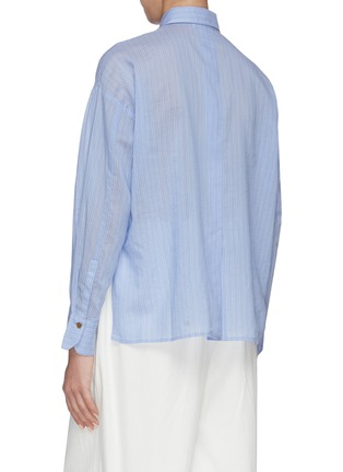 Back View - Click To Enlarge - VINCE - Pinstripe boxy placket shirt