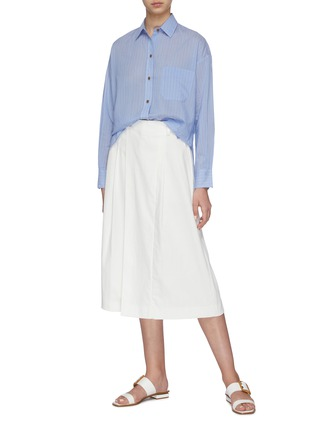 Figure View - Click To Enlarge - VINCE - Pinstripe boxy placket shirt